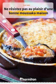 Voyage en Grèce avec cette recette de moussaka maison traditionnelle et facile à faire #moussaka #recettegrecque #recettemoussaka #aubergine #legume #gratin #marmiton #recettemarmiton #cuisine #recette