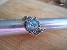 Faceted Aqua Aura Quartz Bead Ring Wrapped in by OurFrontYard, $29.77