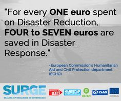 """As the old saying goes: """"An ounce of prevention is worth a pound of cure."""" Happy International Day for Disaster Reduction! #IDDR2015 #echoresilience"""