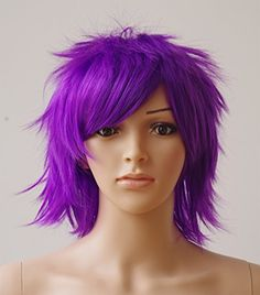 Anime Cosplay Synthetic Full Wig with Bangs 20 Styles Short Layered Fluffy Hair Oblique Fringe Full Head Unisex for Man and Women Girls Lady Fashion (Purple) * You can find out more details at the link of the image.