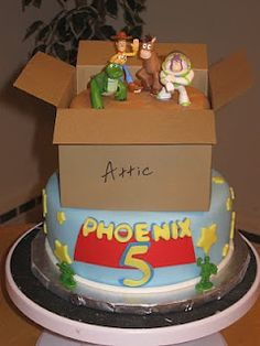 """Toy Story Birthday cake (all figures were small toys) -Could use the """"Attic Box"""" as a separate cake or pie pop display piece"""