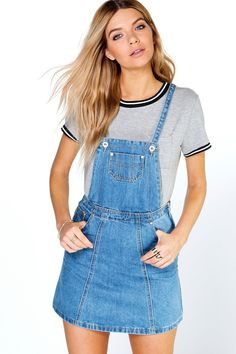 93dd2731e0991 Denim Pinafore Dress. Boohoo UK