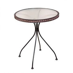 63cm Bistro Table Round Glass Table Garden Table with Rattan Wicker Side Table