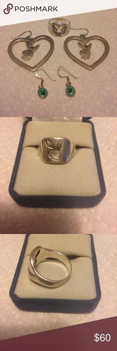 Silver playboy ring set Silver playboy ring and 2 pair silver earrings set! Very good used condition! Sexy! Has some show of wear but just miner!! Needs a good cleaning! Thanks smoker playboy Jewelry Rings
