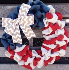 Burlap Wreath with Red, White, Navy Chevron Fourth of July Wreath Spring Wreath Summer Wreath Everyday Wreath