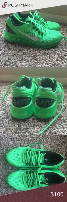 LOWERED PRICE! 💚Green Nike Air Max💚 Green Nike Air Max. Like brand new and perfect condition! They are size 4Y but I wear a women's 6 or 6.5 and they fit me. Nike Shoes Athletic Shoes