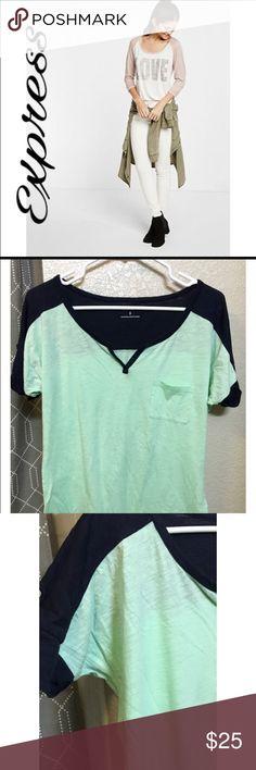 Express Mink&Blue Baseball ⚾️ T-Shirt Super cute mint & blue t-shirt Express Tops Tees - Short Sleeve