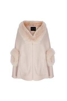 Fur Trim Wool Cashmere Cape Winter Blush. http://www.suzannah.com/ready-to-wear/dress-coats/fur-trimmed-wool-cashmere-cape-winter-blush.aspx