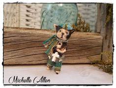 folkart Paper clay primitive Calico Kitty Cat Cross Michelle Allen Raggedy Pants #primitivefolkart #MichelleAllen