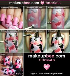 Step-By-Step Tutorial for Pink Camouflage ♥ Spikes Fashion Nail Art Diy Camo Nails, Camouflage Nails, Fashion Nail Art, Funky Hairstyles, Formal Hairstyles, Wedding Hairstyles, Country Nails, Long Dark Hair, Pink Nail Designs