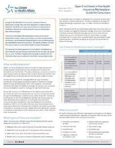 Health Insurance Marketplace Enrollment the Focus of December's Policy Snapshot