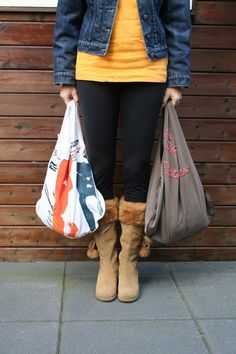 Eco bags - upcycled from old clothing.
