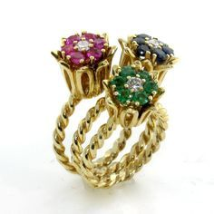 14k Gold Diamond Sapphire Emerald Ruby Braided Tulip Vintage Floral Rings | eBay