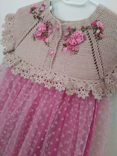 """Müşerref Erdoğan [ """"Beautiful knitting with crochet edges! Link seems to be broken but idea seems simple enough. If only I knew how to make those ribbon flowers."""", """"Use \""""Quick Knit Baby Shrug\"""" & modify."""", """"Discover thousands of images about"""", """"Bebe Yeleği, baby waistcoat, b"""", """"Inspiration only - link doesn"""