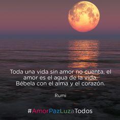 """""""Toda una vida sin amor no cuenta, el amor es el agua de la vida. Bébela con el alma y el corazón."""" - Rumi #AmorPazLuzaTodos"""