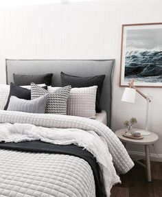 I love this look for Bedroom Interior Design and Decor Inspo. - I love this look for Bedroom Interior Design and Decor Inspo. Great color palette of whites, grays, - White Bedroom Set, White Room Decor, Cozy Bedroom, Dream Bedroom, Home Decor Bedroom, Bedroom Black, Taupe Bedroom, Bedroom Cushions, Bedding Master Bedroom