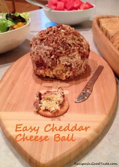 Great as an appetizer and VERY easy to make. My husband literally couldn't stop eating it! http://recipesingoodtaste.com/?recipe=recipe-cheddar-cheese-ball