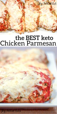 KETO Chicken Parmesan - Low Carb, Keto, Grain-Free, Gluten-Free, THM S - Chicken Parm is one of the dishes at every Italian restaurant in the US. I know why: it's delicious! My EASY baked chicken parm is keto recipes healthy Poulet Keto, Chicken Parmesan Recipes, Low Carb Chicken Recipes, Skinny Chicken Parmesan, Chicken Parmesan Casserole, Mozzarella Chicken, Low Carb Chicken Dinners, Low Carb Easy Dinners, Low Carb Crockpot Chicken