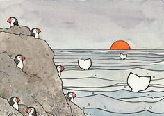 Whales and Puffins ink illustration Print 8x10 by studiotuesday, $30.00