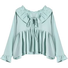Ruffled Flare Sleeve Blouse (33 NZD) ❤ liked on Polyvore featuring tops, blouses, frill blouse, blue top, frilly tops, blue blouse and ruffle blouse