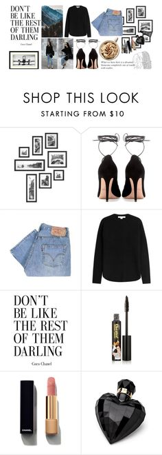 """More For Me"" by minimicimini ❤ liked on Polyvore featuring Valentino, Levi's, Alexander Wang, TheBalm, Chanel, Lipsy, MAKE UP FOR EVER and black"