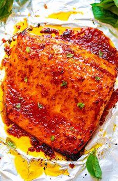 Sheet Pan Chili Dijon Salmon - Averie Cooks Dijon Salmon, Butter Salmon, Asian Salmon, Balsamic Salmon, Lemon Butter, Honey Lemon, Grilled Salmon, Baked Salmon, Seafood Dishes