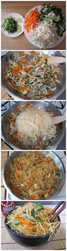 Curried Singapore Vermicelli Noodles, Carrots, Bok Choy, Bean Sprouts, and Scallions in Ginger, Soy, Sesame, and Chili Garlic Sauce #chinesefoodrecipes