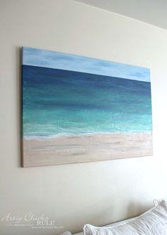 DIY Beach Painting - up CLOSE - artsychicksrule
