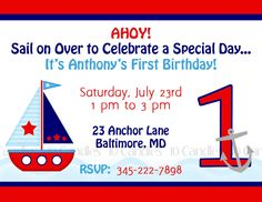 Sailboat Invitation -Set Sail Nautical  - Boat - Baby Shower - Birthday Party Decorations - Set of 12