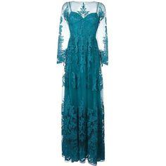 Zuhair Murad draped sheer maxi dress (67.672.995 IDR) ❤ liked on Polyvore featuring dresses, blue, drapey dress, draped maxi dress, blue sheer dress, blue maxi dress and drape dress