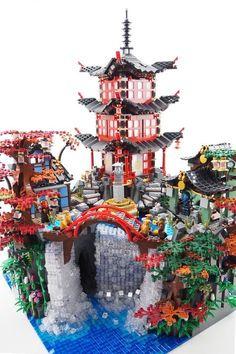 "quick approach on a modular landscape base for the awsome official LEGO Ninjago set ""Temple of Airjitzu"" Lego Display, Lego Modular, Lego Design, Lego Ninjago City, Lego City, Legos, Van Lego, Lego Sculptures, Lego Bedroom"