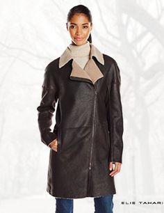 Elie Tahari Women's Lexie Buffed Merino Shearling Coat