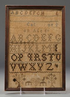 "Shaker Needlework Sampler, ""Catherine Newton Aged 10,"" reportedly Mt. Lebanon, New York, c. 1850"