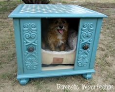 end table made into an inside dog house. cute decorating idea for inside or out.