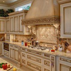 Glazed Kitchen With A Mahogany Island