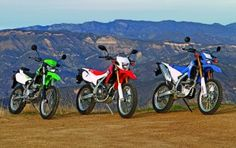 Yamaha's WR250R, Honda's new CRF250L and Kawasaki's KLX250S, which were compared in the February 2013 issue of Rider magazine.