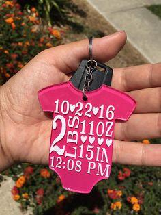 Birth Stats Acrylic Vinyl Keychain baby birthbabystats