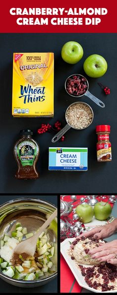 This sweet and savory Cranberry-Almond Cream Cheese Dip will wow your guests at this year's holiday party. Simply combine granny smith apples, cream cheese, honey and cinnamon and form into a ball. Chill in the refrigerator for an hour then roll into the cranberries and almonds. Serve with WHEAT THINS.