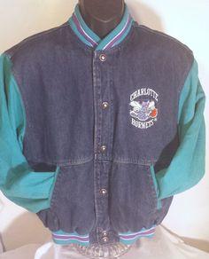 Vintage Charlotte Hornets Mens Size Small Denim Jean Starter Jacket #Starter #CharlotteHornets #nba