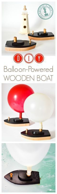 Wooden toy boats are fun to make! Add to this a little experiment to study the… #woodentoy