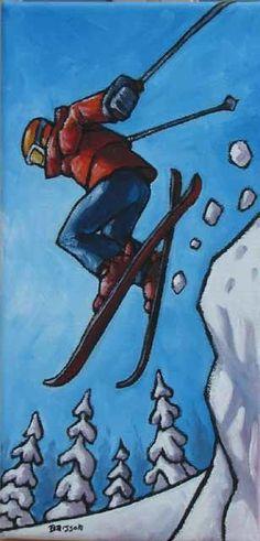 Aventure blanche (Peinture), 12x6 in par François Brisson Brisson, Skiing, Images, Artist, Artwork, Painting, Adventure, Skiers, Stained Glass