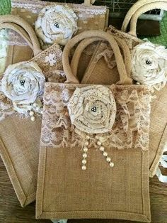 We are happy to announce we are slowly reopening our shop Noelle Garrett Designs ! Hessian Bags, Jute Bags, Burlap Flowers, Fabric Flowers, Sewing Crafts, Sewing Projects, Deco Retro, Burlap Projects, Burlap Crafts