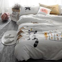 Стильное детское белое постельное белье Dormy с принтом енот наволочка постель простынь домашний декор дети