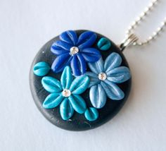 Teal and Blue Flower Polymer Clay Necklace Swarovski by mlwdesigns, $16.00