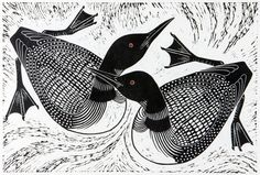 """Two Loons Hand-pulled Relief Print; Edition of 250; Image size: 18"""" x 12"""" -- Dona Reed, Rainshadow Arts"""