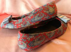 All Tie'd Up Flats red paisley blue bow by Vespetta on Etsy, $150.00