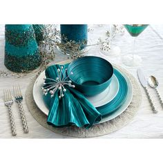 Christmas Place Settings: Teal & Turquoise