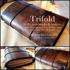 This listing is for the trifold travelers notebook, fits traditional Midori Travelers Notebook in Regular Size Inserts. The extra flap means you can