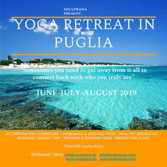 A rejuvenating Retreat in the middle of beautiful Puglia! Revitalize your body, mind & soul, connect with yourself and dive within through daily Yoga & Meditation - Bookings are open now! Visit www.soulprana.de and check out dates and prices!