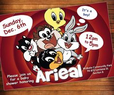 Baby Looney Tunes Invitation Looney Tunes Baby Shower by LilGiggs